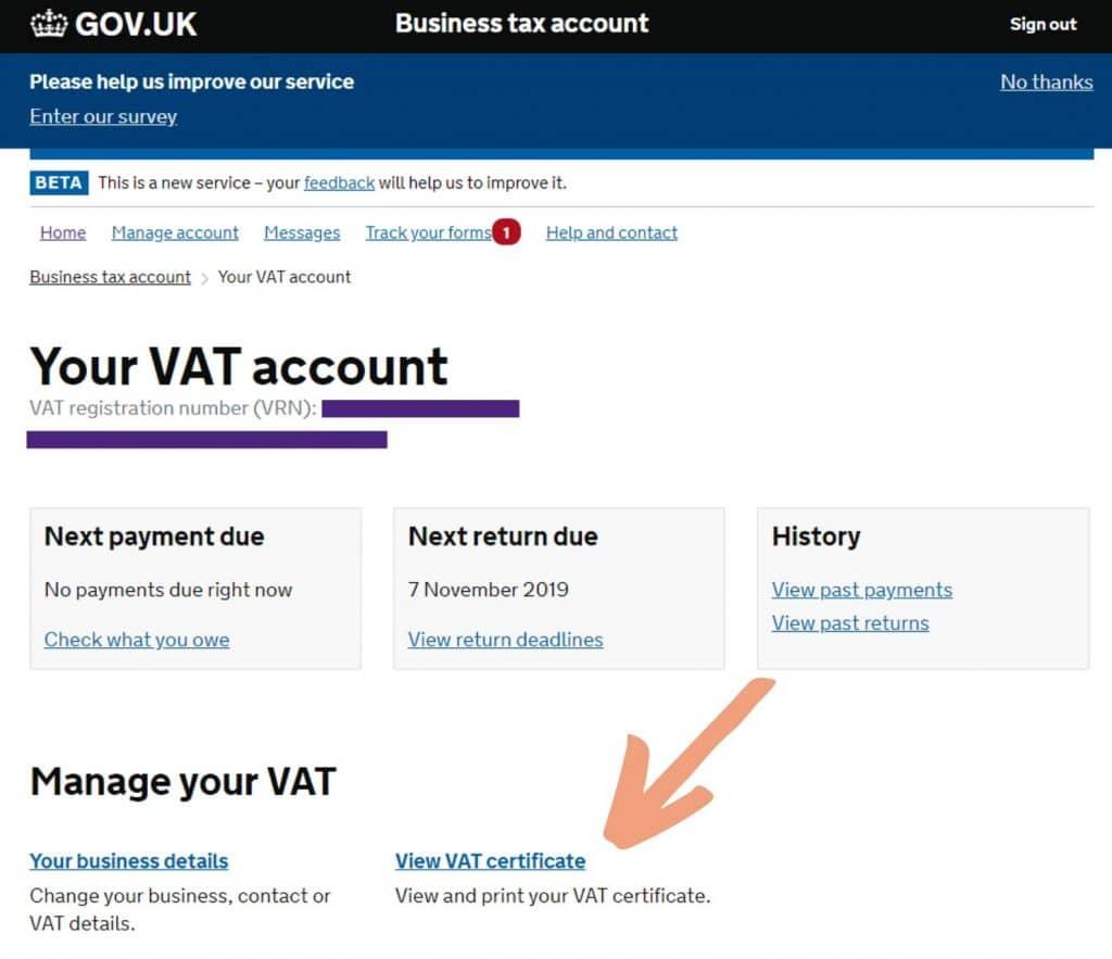 Download your VAT Certificate